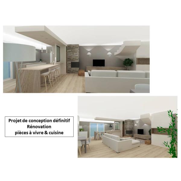 Rénovation d'une maison à Dommartin - Pièces à vivre & cuisine