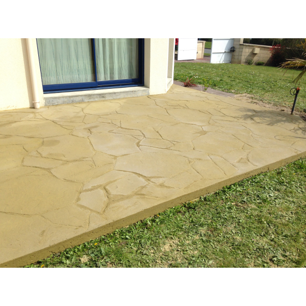 Terrasse bois, béton imprimé