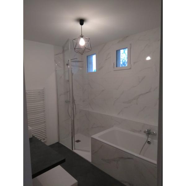 rénovation d'une salle de bain douche et baignoire